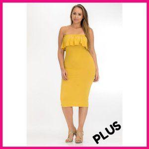 NWT Plus Size Bodycon Ruffled Tube Dress Yellow
